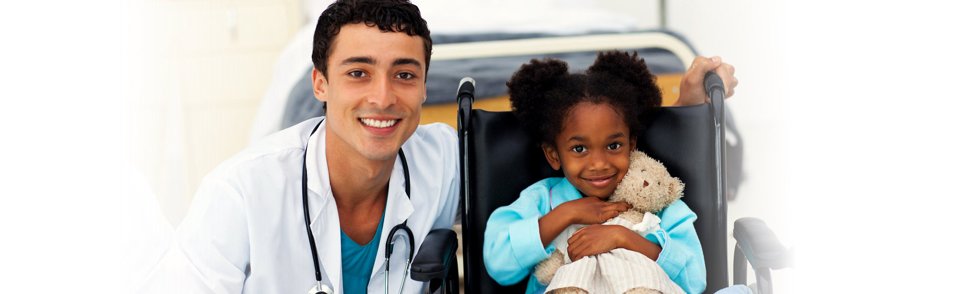 little girl with her toys and her doctor